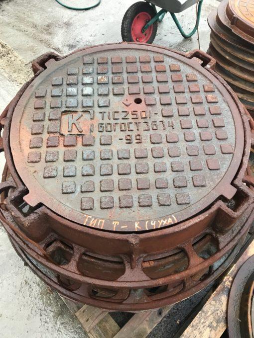 Люк канализационный тип Т (4 уха,Н-120) (С250) К.1-60